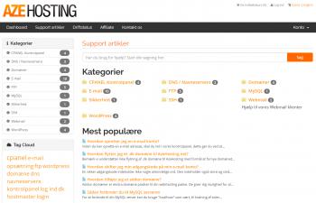 Support artikler som kan findes i supportcentret hos AzeHosting