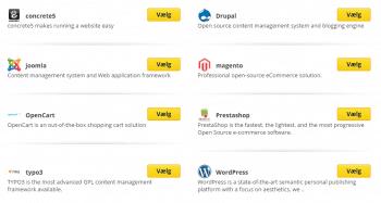 Et klik installering af populære CMS som WordPress, Drupal m.m.