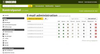UnoEuros brugervenlige kontrolpanel - Email administration
